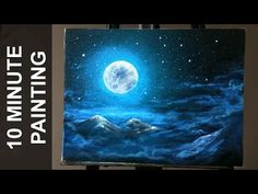 Painting Moonlit Clouds in a Starry Night Sky with Acrylics in 10 Minutes! - YouTube