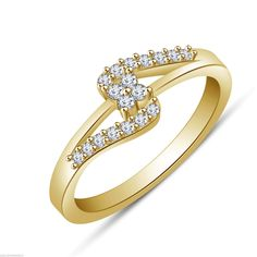 White Diamond Yellow Gold on 925 Sterling Silver Engagement Bypass Ring 925 Silver, Sterling Silver, Bypass Ring, Beautiful Wedding Rings, Anniversary Bands, Cute Jewelry, The Ordinary, Round Diamonds, Diamond Rings