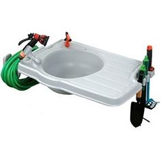 Clean-IT - Outdoor Sink System With Large Counter Top - Large work area. Built in tool storage. Comes with mounting hardware, drain tube, and nozzle holder. Great for washing hands, cleaning fish. Outdoor Garden Sink, Outdoor Sinks, Garden Hose, Outdoor Gardens, Garden Tools, Garden Ideas, Backyard Ideas, Garden Inspiration, Backyard Landscaping