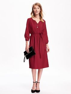 "I wouldn't wear this as a dress, but it's kind of cute if you think ""housed read""/kimono/robe.  Women's Pintucked Tie-Belt Midi Dress"