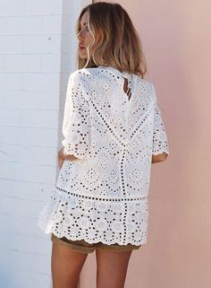 Mock Neck Half Sleeve Hollow out Lace Blouse Casual Tops For Women, Blouses For Women, Moda Hippie Chic, White Linen Dresses, Military Style Jackets, Couture Tops, Collar Blouse, Blouse Styles, High Collar