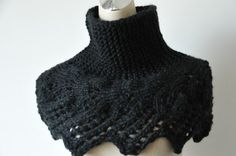 Hand knit capelet in Black / Neck warmer leaves by MaxMelody