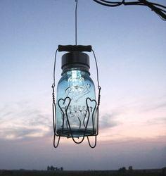 Mason Jar solar lamp w/hearts wire hanger
