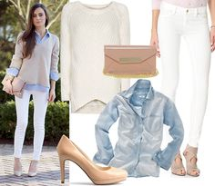 chambray shirt + white sweater