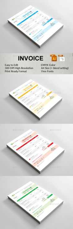 #Invoice - #Stationery #Print #Templates Download here:  https://graphicriver.net/item/invoice/18956452?ref=alena994