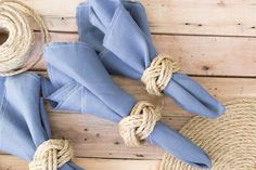 Love these DIY nautical rope napkin rings. A simple craft idea for a gorgeous coastal wedding or nautical themed tablescape.