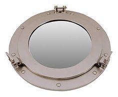 Miroir hublot MARIN laiton, gris mat - Ø51 Home Living, Mirror, Luxury, Furniture, Home Decor, Master Bedroom, Grey, Porthole Mirror, Clothes Racks