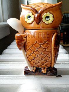 #MidCentury Owl Decor | Retro 60s Ceramic Coffee Canister Figurine with Spoon