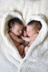 Twin infants in a heart shaped blanket.  So cute!!  ciao! newport beach: sweet hearts