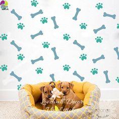 Bones and Paw Prints Vinyl Decal Wall Art Animal Wall Decals, Wall Sticker, Diy Wall Art, Wall Decor, Animal Room, Dog Daycare, Dog Paws, Dog Walking, Wall Wallpaper