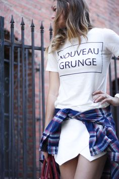 White T-shirt + Sophisticated skirt + Flannel Tied Shirt = Nouveau Grunge
