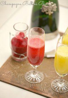 Great idea for a brunch - Strawberry, Peach, Mango Bellini Bar www.fooddonelight.com