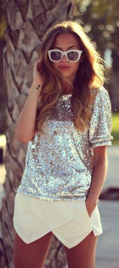 Silver Sequins + Envelope Skirt. Love the skirt!