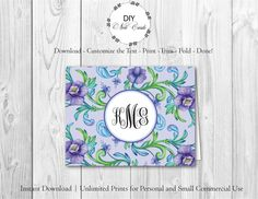 Indian Summer - DIY Printable Monogram Note Card Template - Add Text, Print, Trim, Fold, Done! Unlimited Personal Prints. FIL.0126 by DIYNotecards on Etsy