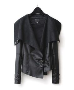 Black Cropped PU Coat with Pin Buckle Belt Detail and Oversized Lapel
