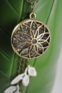 Brass Dream Catcher Necklace with Ivory Lace by LeBijouxJardin, $34.95