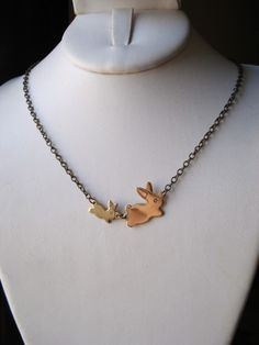 Bunny Necklace -- Gold Brass Rabbit Charms -- Flopsy and Mopsy. $21.00, via Etsy. Mommy and baby bunny!