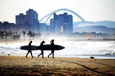 "Durban (Zulu: eThekwini, from itheku meaning ""bay/lagoon"") is the largest city in the South African province of KwaZulu-Natal. Durban's metropolitan… Best Places To Travel, Places To See, Durban South Africa, City By The Sea, Domestic Flights, Kwazulu Natal, Out Of Africa, Surf City, New South"