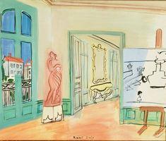 Raoul Dufy: L'Atelier, 1940. (collectie: Musee d'art Moderne, Troyes ) Raoul Dufy: L'Atelier, 1947. (collectie: Musee d'Art Moderne, Cer...