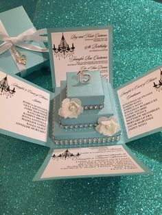 Pin by lubja cervantes on quinceaero pinterest this tiffany quinceanera exploding box invitation with square cake is a diy do it yourself kit unique custom invitations for quinceanera solutioingenieria Gallery