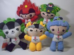 Beijing Olympics Mascot Plush Set of 5 Different Toys Official 2008