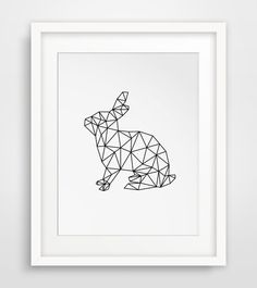 Rabbit Print Geometric Digital Art Rabbit von MelindaWoodDesigns