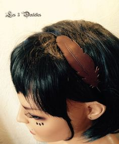 Headband serre tête cuir forme plume *Les 3 dentelles*