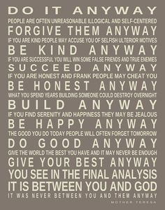 Mother Teresa Quote Do It Anyway Print Custom by PrintsbyChristine, $23.00