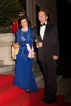 Isabel, Duchess of Braganza and Dom Duarte Pio, Duke of Braganza attends the gala dinner after the wedding of Crown Prince Leka II of Albania and Crown Princess Elia of Albania at the Royal Palace in Tirana, Albania on October 8, 2016