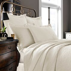 Kassatex Foglia Collection Twin Coverlet in Ivory