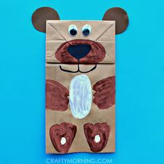 Make a paper bag bear puppet! It's a cute kids craft idea to make.