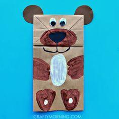 Make a paper bag bear puppet! It's a cute kids craft idea to make.