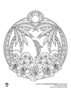 Tropical Beach and Dolphin Ocean Mandala Adult Coloring Page