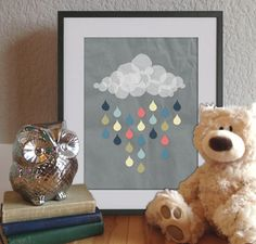 Colorful Rain Cloud // Modern Poster 8x10 DIY by modBeeDesign, $8.00