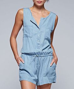 Love this Light Blue Denim Tie-Waist Blouson Romper on #zulily! #zulilyfinds