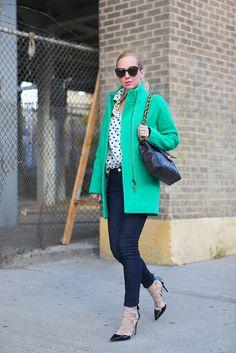 Coat: J Crew, Jeans: 7FAM, Top: J Crew, Shoes: Valentino, Sunglasses: Karen Walker, Bag: Vintage Chanel, Ring: YSL, Necklace: Jennifer Zeuner, Lipstick: Nars Schiap,