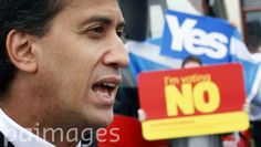 Labour leader Ed Miliband campaigns in the Scottish independence referendum near the Blantyre miners community resource centre in Scotland.