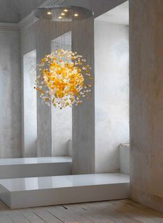 Blown glass chandelier BUBBLES IN SPACE - Lasvit @lasvit