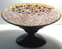 Mosaic Dish, Brown Copper Metallic Dessert Stand, Mosaic Centerpiece, Gold Brown Bronze Mosaic Centerpiece,  Pedestal Dish, Mosaic Display