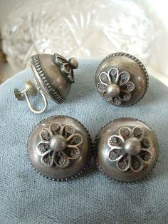 Antique Denmark Sterling Silver Domed Relief Demi Parure Ear & Brooch Set