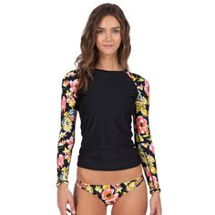 bab08bc605 Wild Buds Long Sleeve Rashguard $55.00 Rash Guard Swimwear, Beachwear 2018,  Swimwear Fashion,