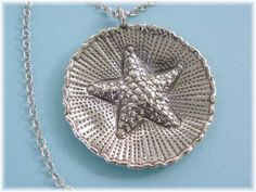 "Sterling Silver - Starfish 1 3/8"" Pendant - 18"" Sterling Chain Necklace - Day At The Beach Seashore - Gift Box - Perfect Gift  FREE SHIPPING by FindMeTreasures on Etsy"