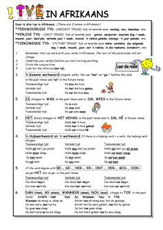 Tye in Afrikaans English Grammar Worksheets, 1st Grade Worksheets, Preschool Worksheets, English Vocabulary, Language Lessons, Speech And Language, Teaching Aids, Teaching Resources, School Resources