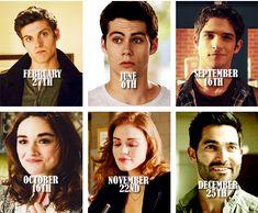 Character Birthdays according to Teen Wolf calender