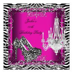 Hot Pink Zebra Leopard Print Party Shoes Custom Announcements