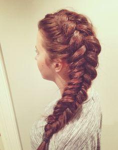 Fishtail braid, long hair