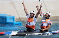 Ladislav Skantar and Peter Skantar of Slovakia celebrate after crossing the finish line during the Men's Canoe Double (C2) Final on Day 6 of the Rio 2016 Olympics at Whitewater Stadium on August 11, 2016 in Rio de Janeiro, Brazil.