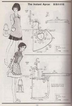 examples of vintage aprons from the Kamakura-Shobo Publishing Co. Pattern Drafting books Vol. and published in 1970 and examples of vintage aprons from the Kamakura-Shobo Publishing Co. Pattern Drafting books Vol. and published in 1970 and Sewing Hacks, Sewing Tutorials, Sewing Projects, Vintage Apron Pattern, Vintage Sewing Patterns, Retro Apron Patterns, Vintage Fabrics, Sewing Aprons, Sewing Clothes