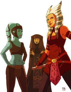Aayla Secura, Luminara Unduli, and Ahsoka Tano