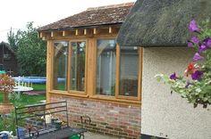 Enclosed Oak Front Door Porch - Side Elevation